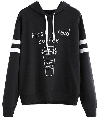 milumia womens coffee print pullover hoodie image